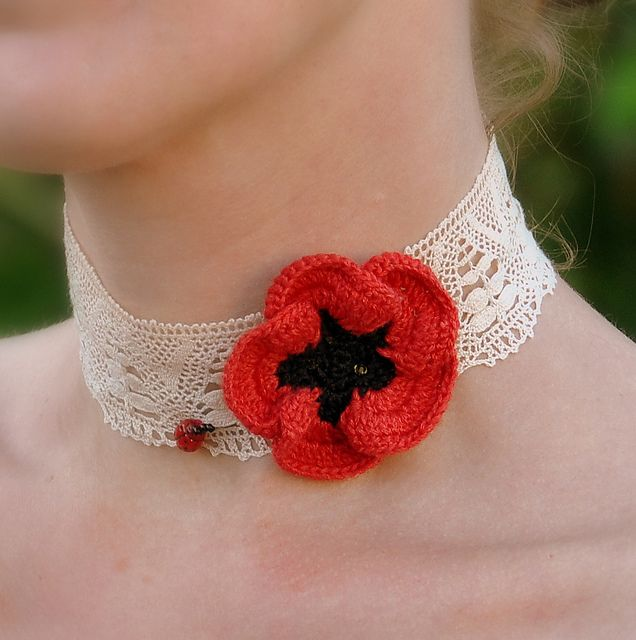 ANZAC Poppy Choker pattern by Anne Rousseau | Crochet Accessories ...