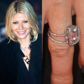 gwyneth paltrow large emerald cut in a halo on a delicate double diamond band