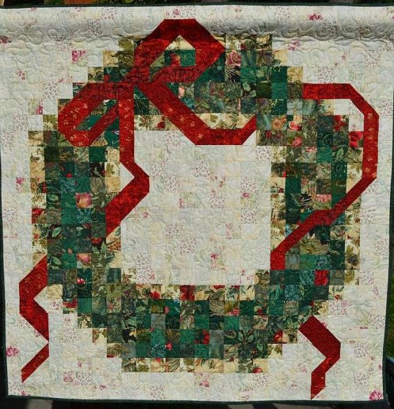Quilted Christmas Wreath Wall Hanging By Raincityquilts On