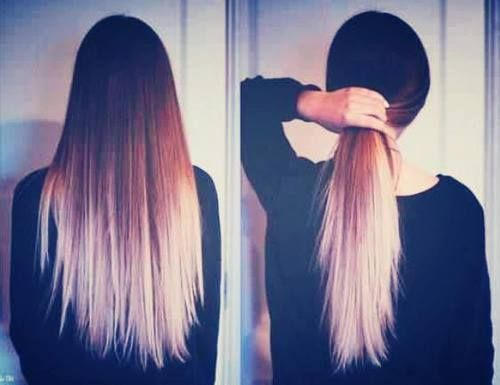 Blonde Ombre On Dead Straight Hair Long Layers Dipped Hair
