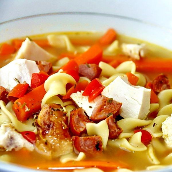 chorizo rotisserie chicken noodle soup  recipe with