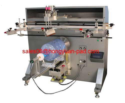 Screen printing machine for 5 gallon bucket its printing on the cylindric workpiece which diameter is within 350mm.The material of the workpiece can be plastic,steel,ceramic,glass and so on