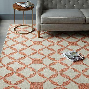 Orange Patterned Kitchen Rug Tile Wool Kilim Rug