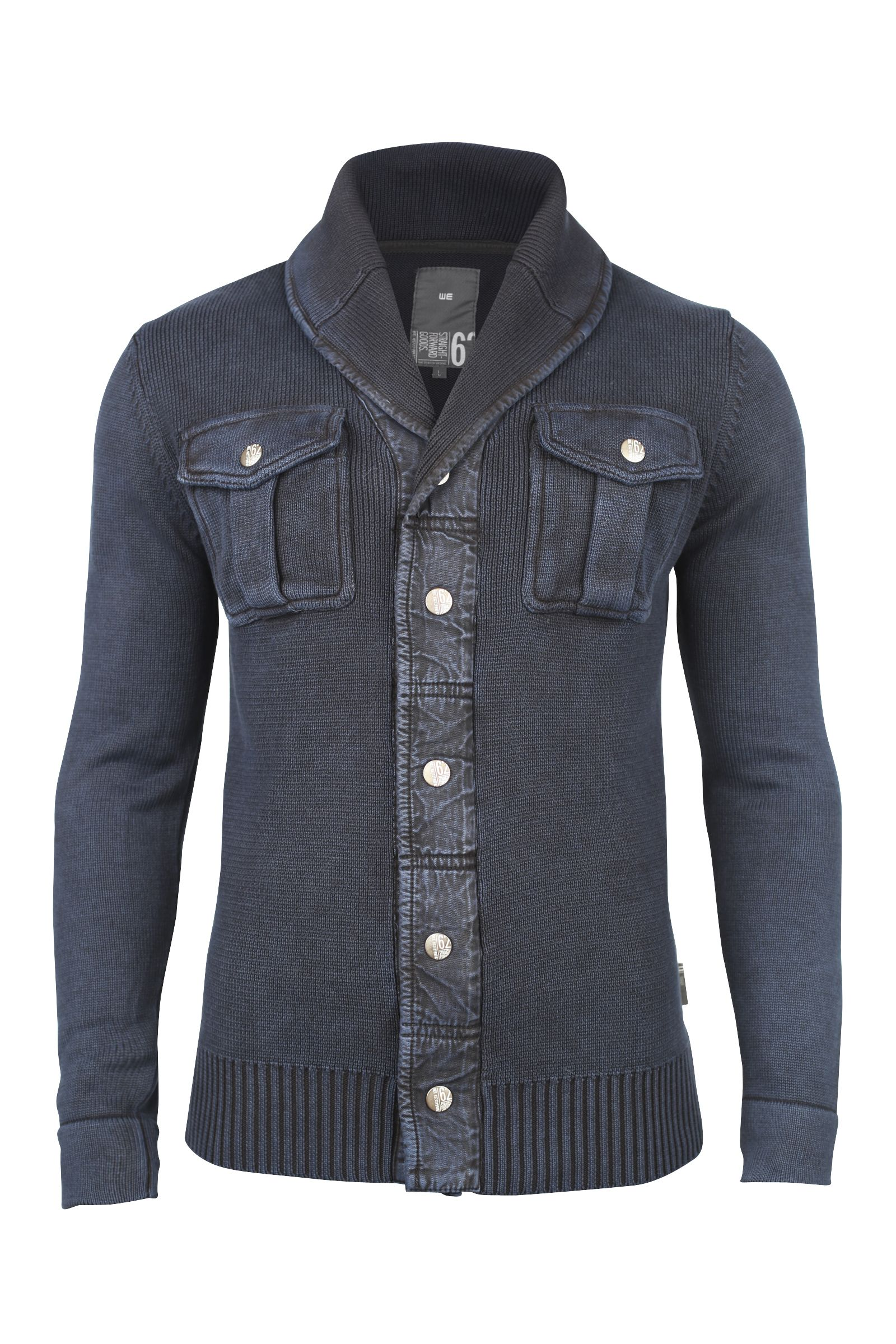 WE cotton cardigan with two breast pockets with button on the ...
