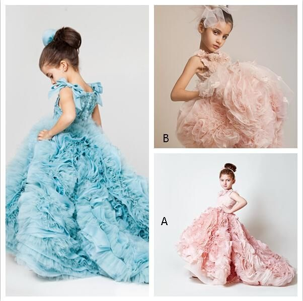 Blush Pink Girls Pageant Dresses 2016 Ball Gowns Cascading Ruffles ...