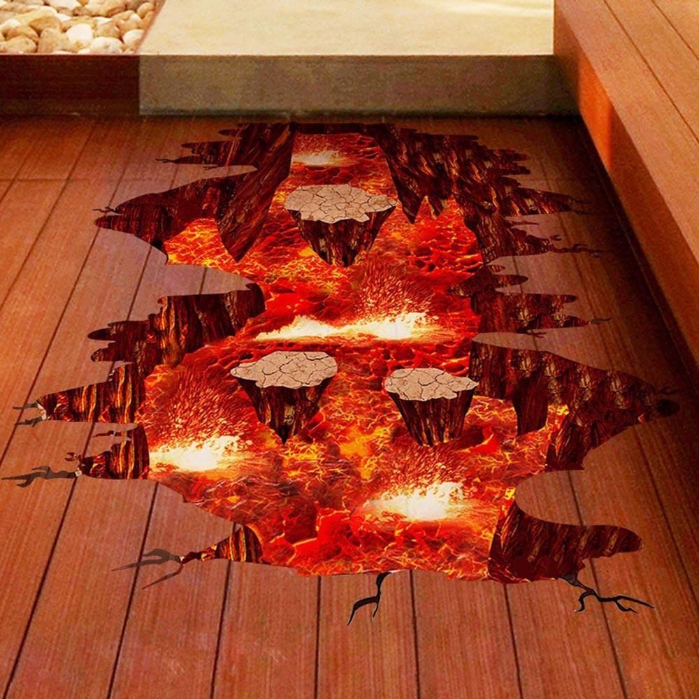 Classic 3D Wall Floor Stickers Lava Pit Kids room wall