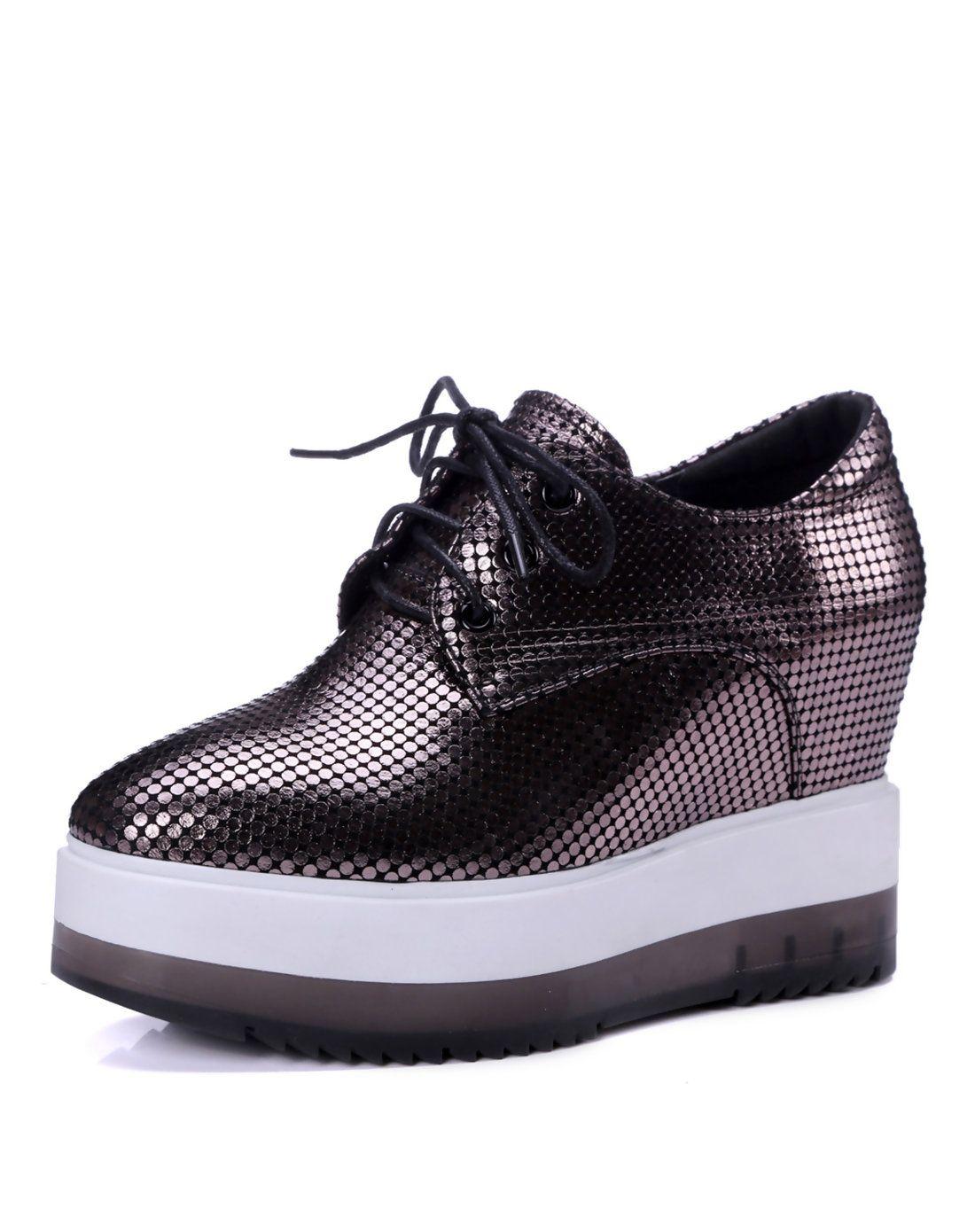 fca574c20a3d  AdoreWe  VIPme (VIPSHOP Global) Mens - naiyee Dark Gray Printed Leather  Lace Up Wedge Lady Sneakers - AdoreWe.com