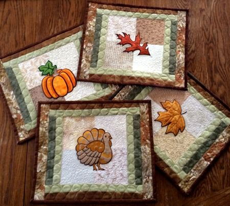 Advanced Embroidery Designs. Thanksgiving Quilted Table Runner.