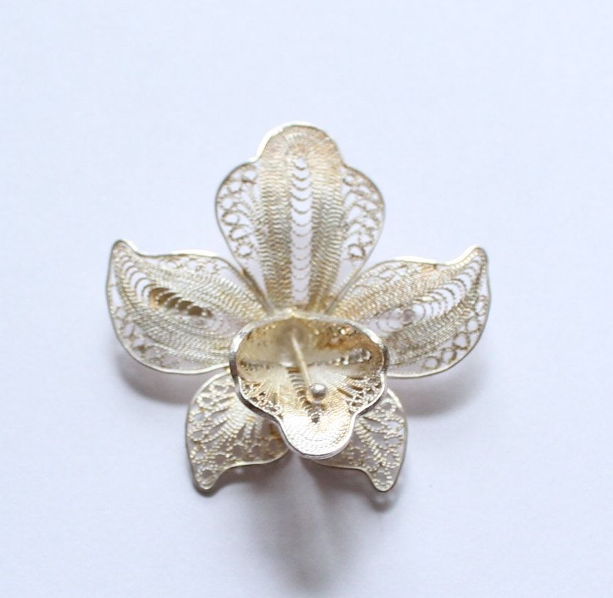 Antique Sterling Silver Filigree Iris Flower Brooch