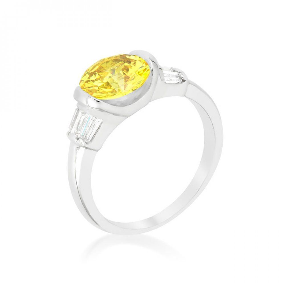 Round Cut Classic Yellow Cocktail Ring