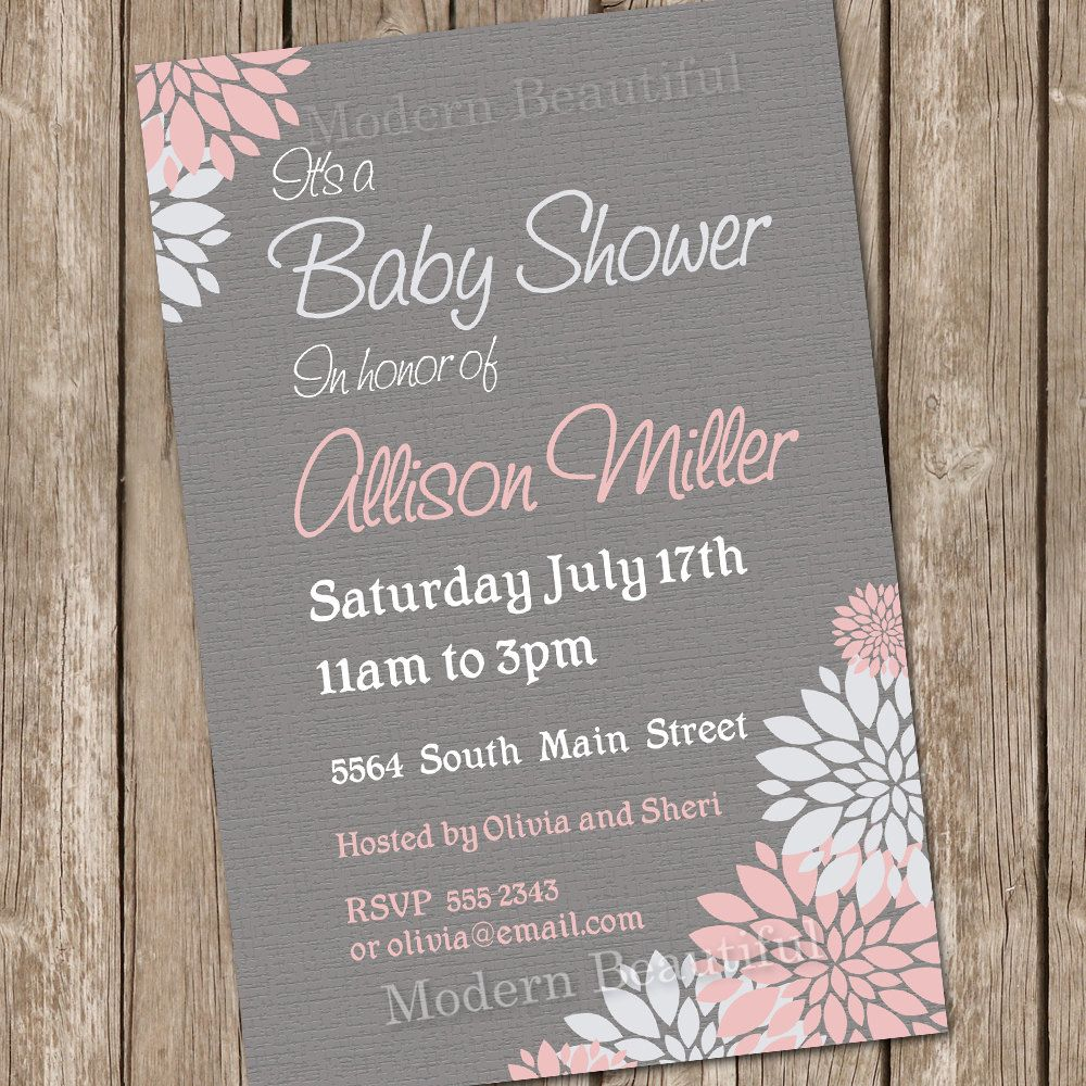 Girl Baby Shower Invitation Flower Pink and Grey Printable ...