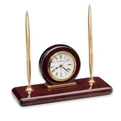 Howard Miller Rosewood Desk Set Table Clock Rose Wood Desk Desktop Clock Desk Set