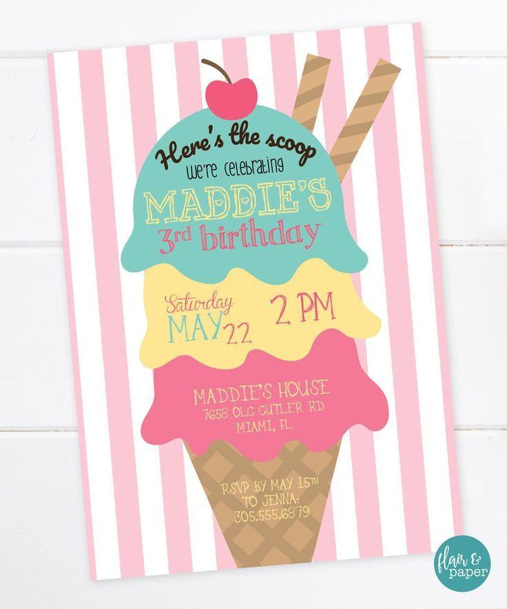 Ice Cream Birthday Invitation, Ice Cream Party, Dessert, Birthday ...