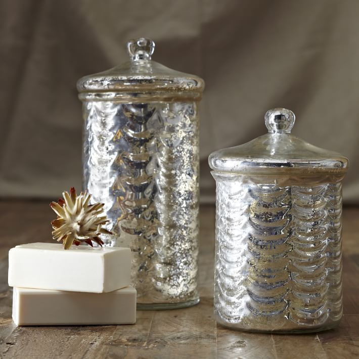 Mercury Glass Canisters vanity accessories - vanity tray