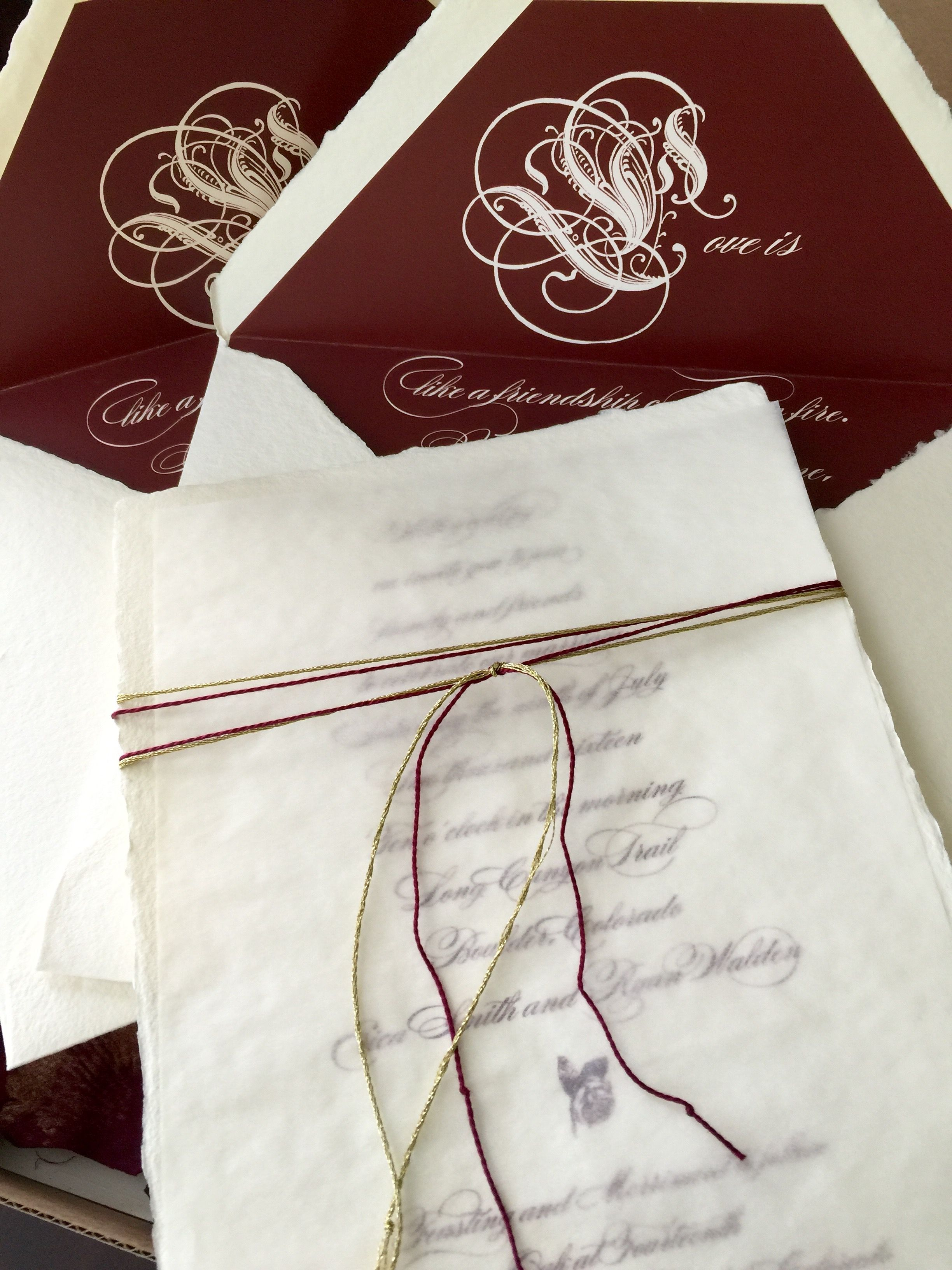 The wedding invitation was sent in a large box with silk rose petals ...
