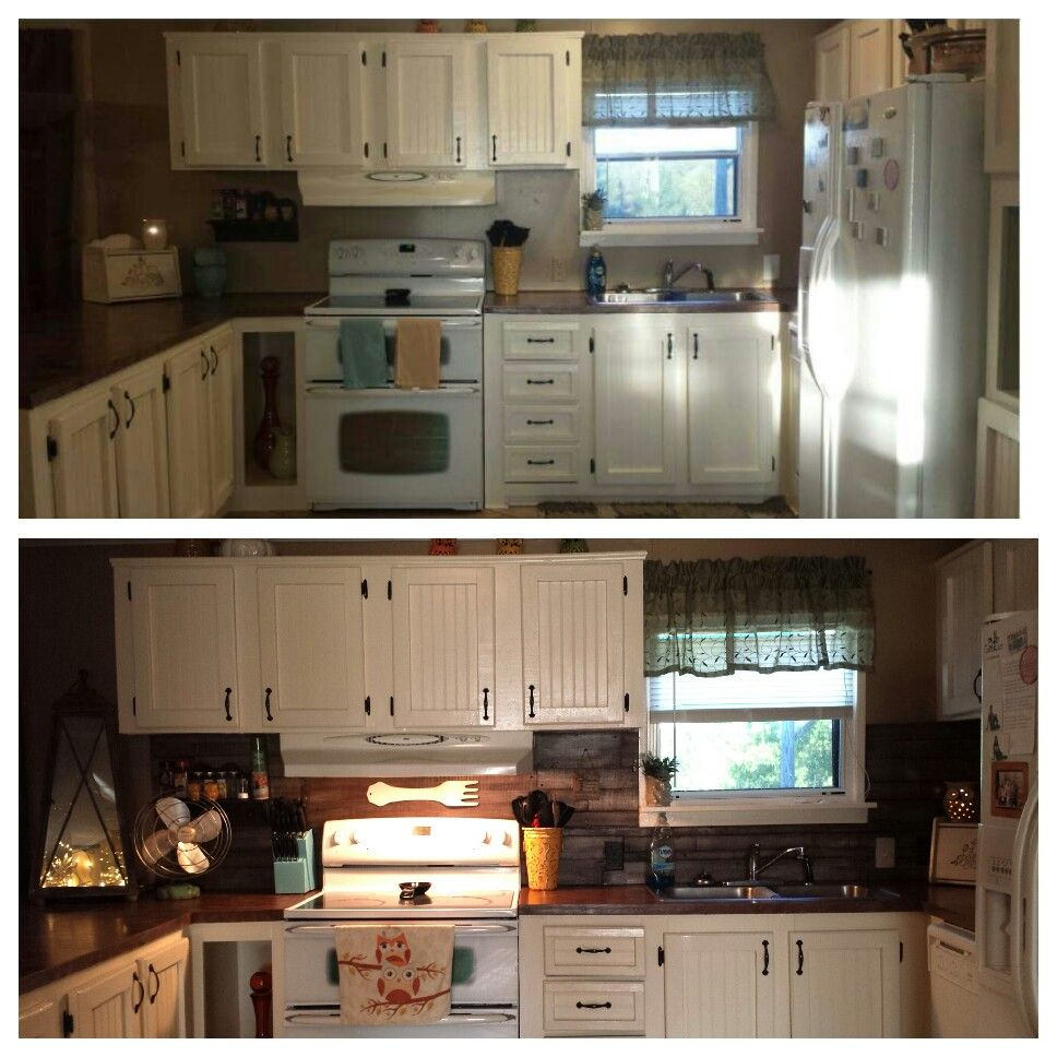 Reclaimed wood backsplash.  Before and after