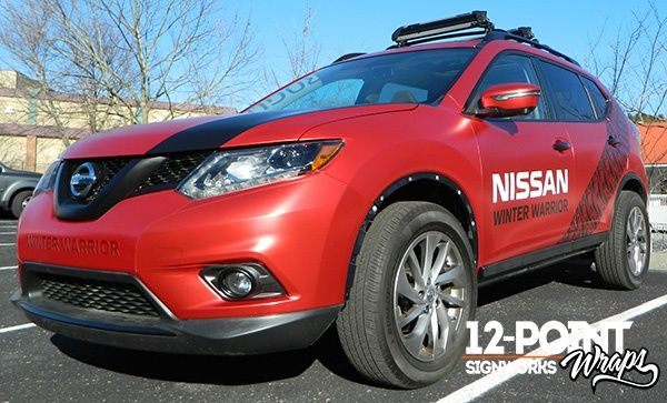 Winter Warrior Custom Wrap In Frosted Red Chrome Vinyl On A Nissan Rogue 12 Point Signworks Franklin Tn Nissan Rogue Nissan Custom Wraps