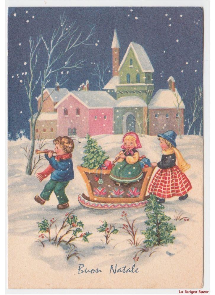 Immagini Natalizie Anni 50.Cartolina Natalizia Vintage Con Bambini Slitta Decorata