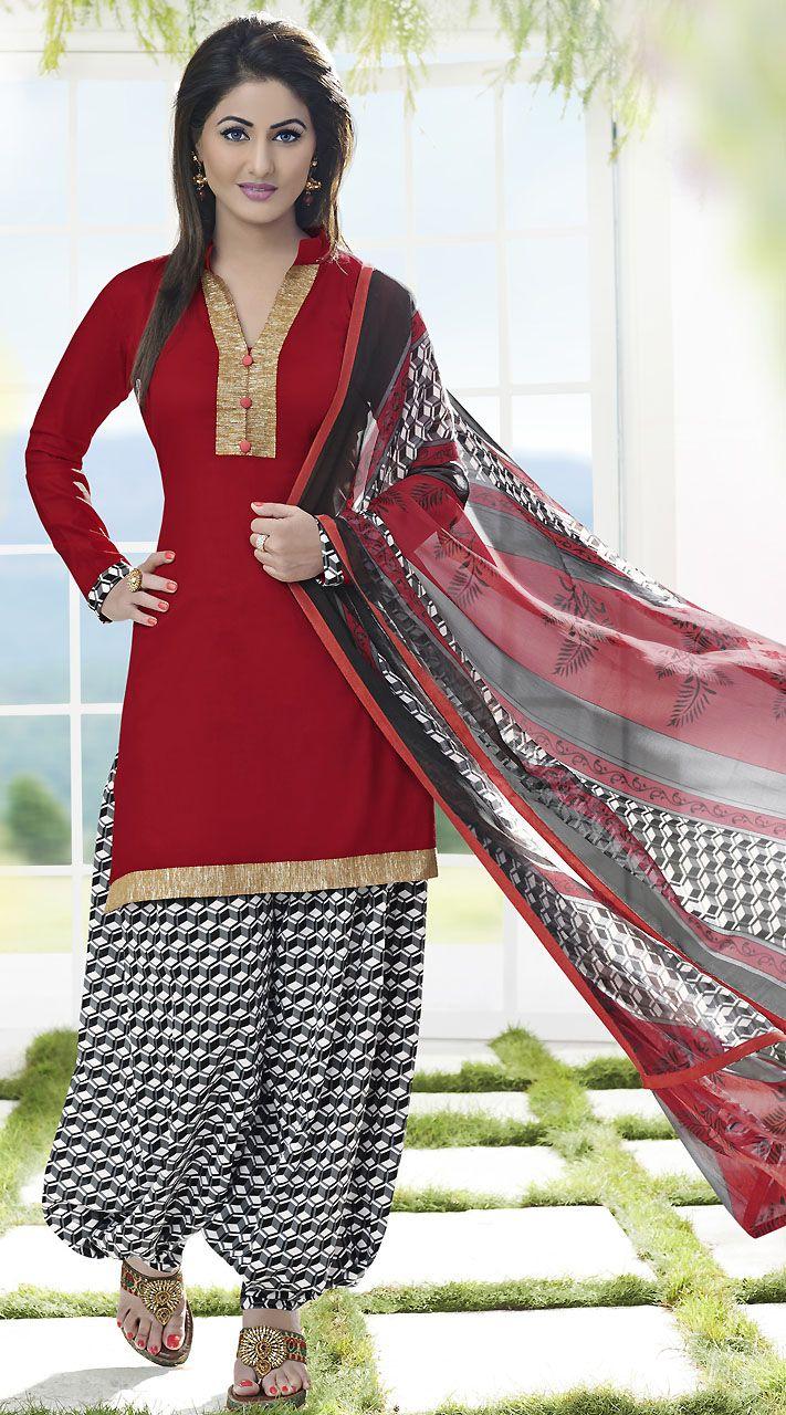 275dfd4d0d Golden Border Red T.V Actress Akshara Short Kameez With Salwar ...