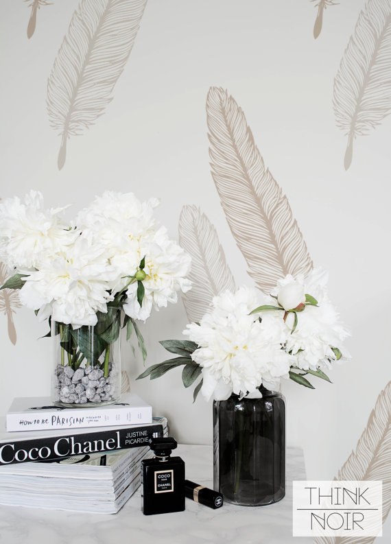 ThinkNoir Wallpaper With Feather Pattern Is Ready To Make Any Room Unique And Trendy Removable Easy Way How