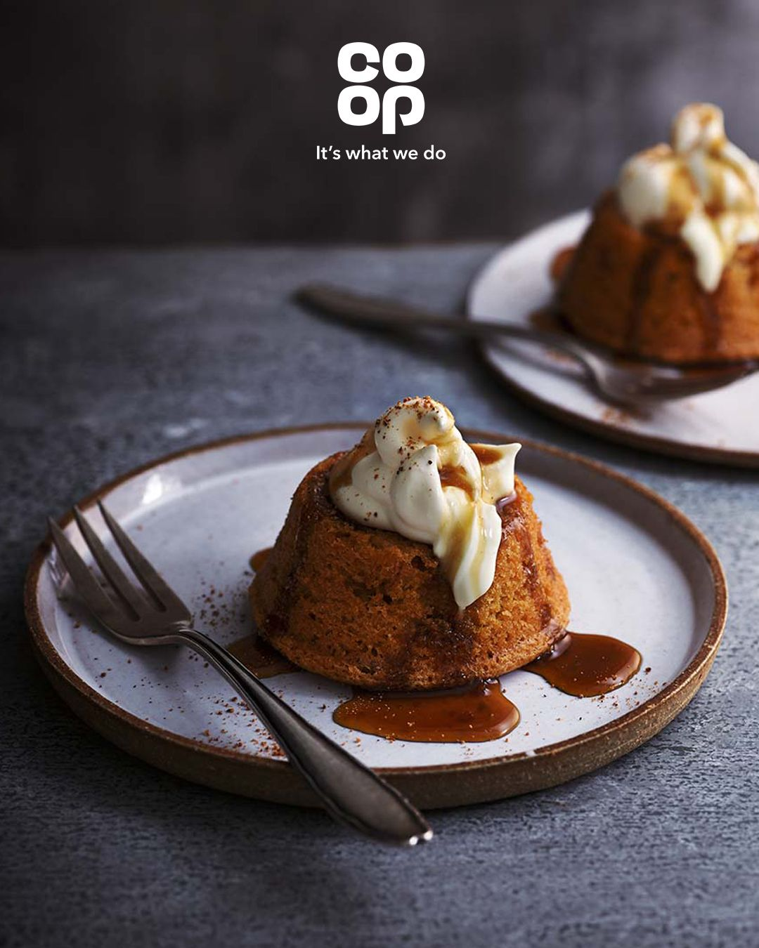 Brown sugar cakes with crème fraîche and coffee syrup ...