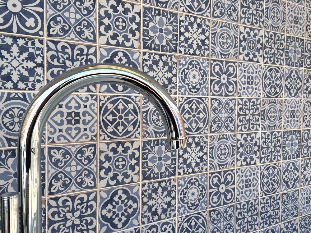 Fez Blue Vintage Moroccan Victorian Encaustic Effect Pattern Wall Amp Floor Tiles Wall Tiles Design Blue Decor Blue Kitchen Tiles