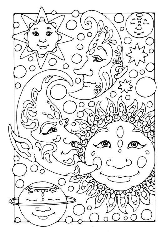 Coloring Page Sun Moon And Stars With Images Moon Coloring