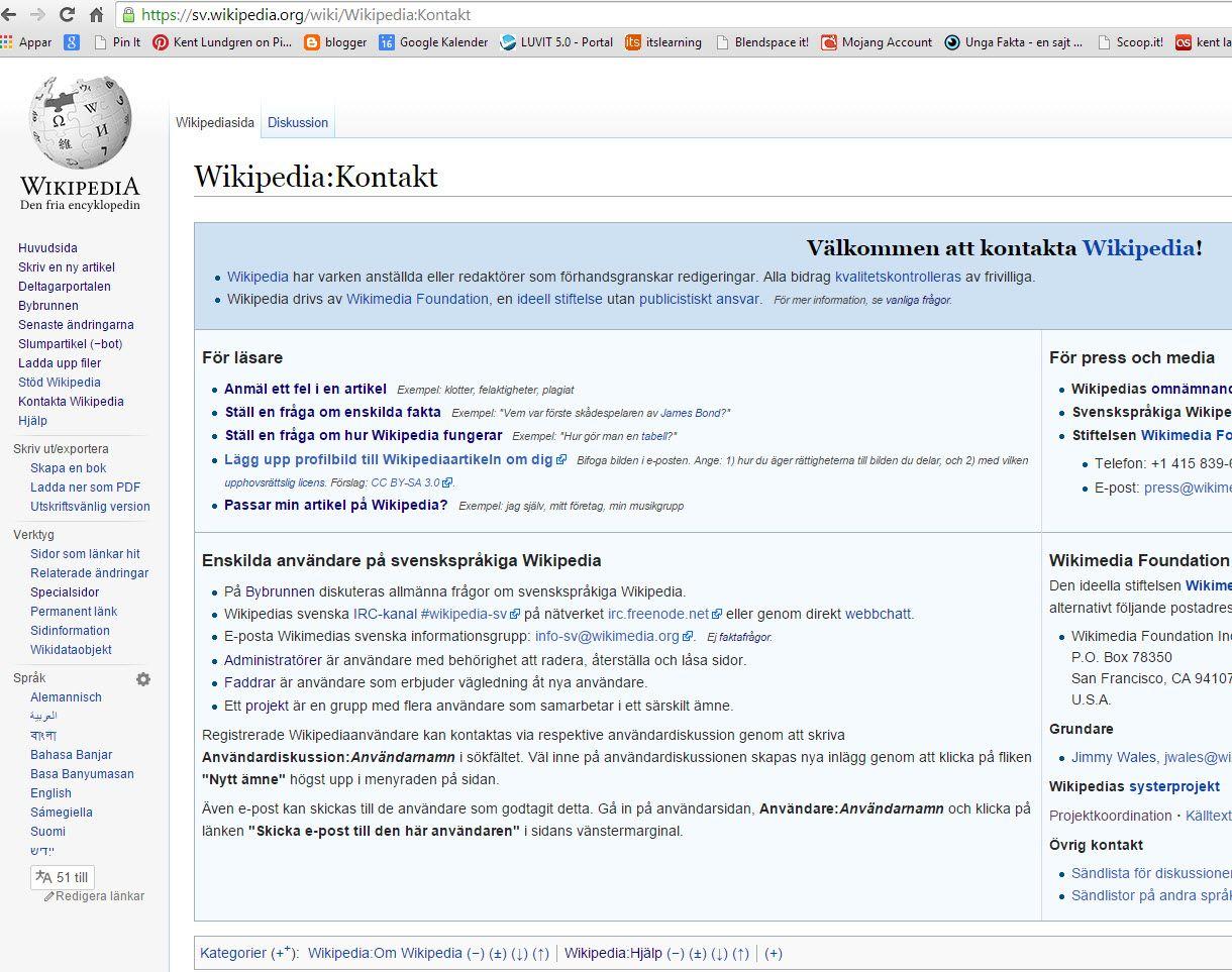Kontakta #Wikipedia https://sv.wikipedia.org/wiki/Wikipedia:Kontakt