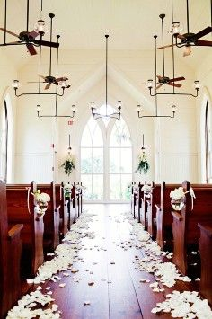 2014 ivory white petals aisle decor, mason jars chair decor ...