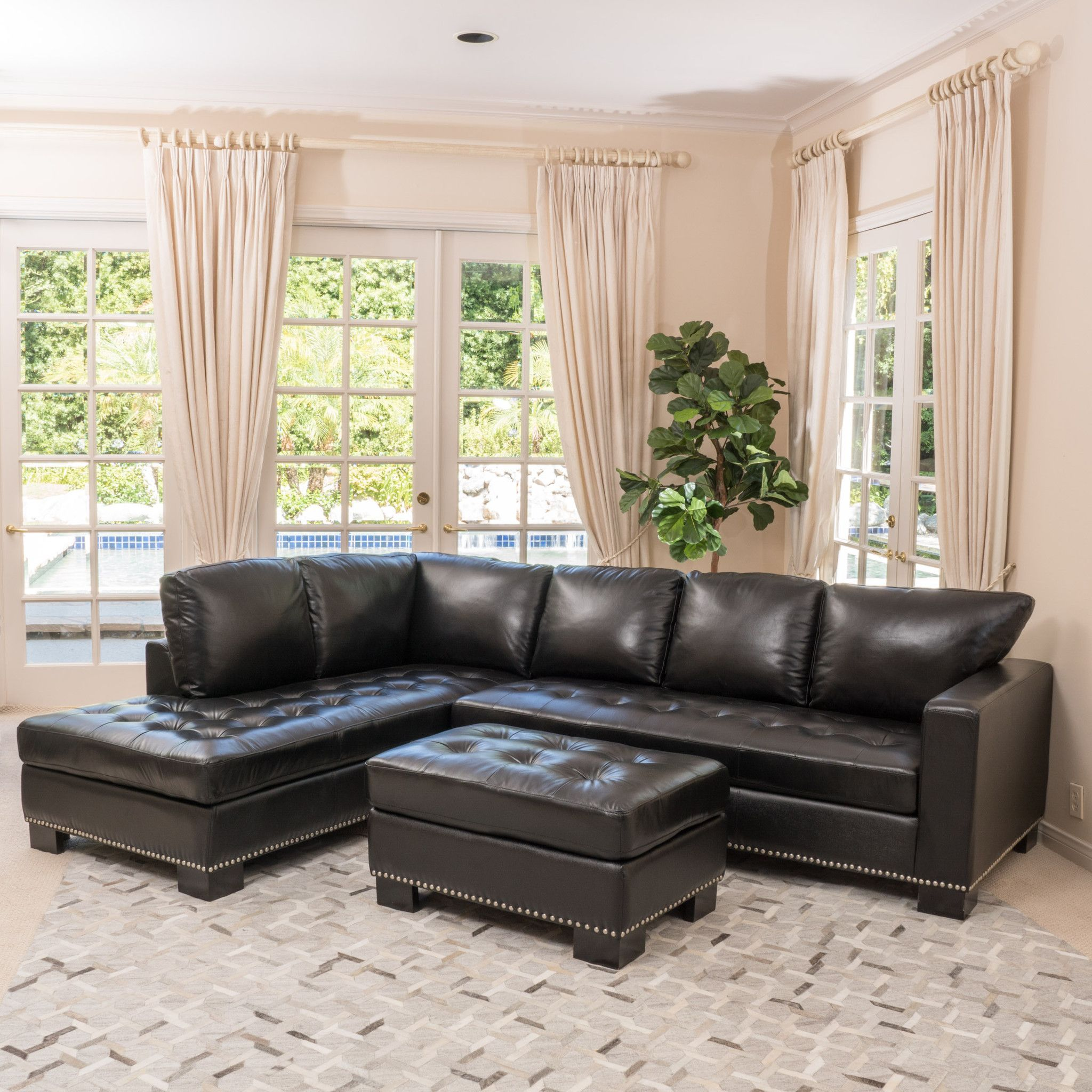 Harinden Contemporary Black Leather Sectional Couch Sectional