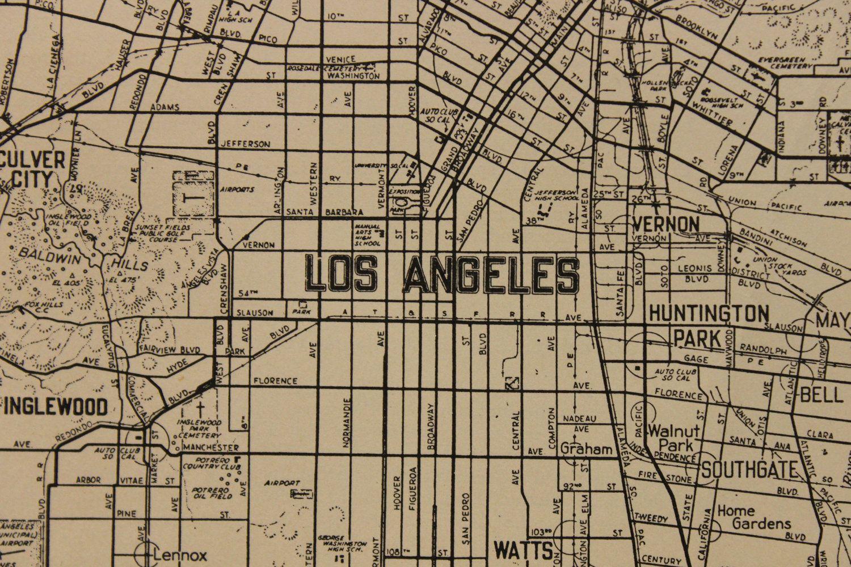 Vintage Los Angeles | Vintage Map Los Angeles California Original