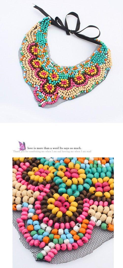 collar etnico colores | collar babero | Pinterest | Beads, Textile ...