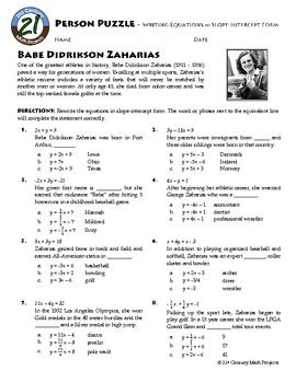 Person Puzzle - Rewriting Linear Equations in y=mx+b - Babe ...