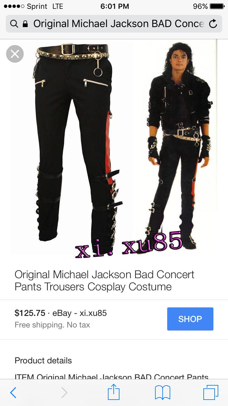 Original Michael Jackson BAD Concert Pants Trousers Cosplay Costume