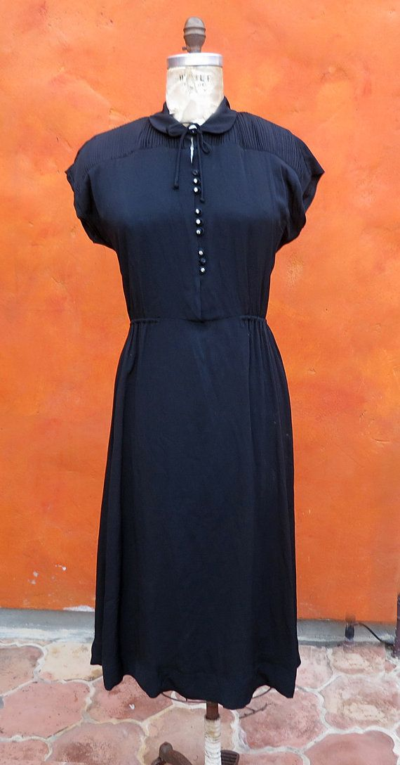 Vintage 1940s WWII Women's Black Rayon Dress. Rhinestone buttons. Bow. Large XL