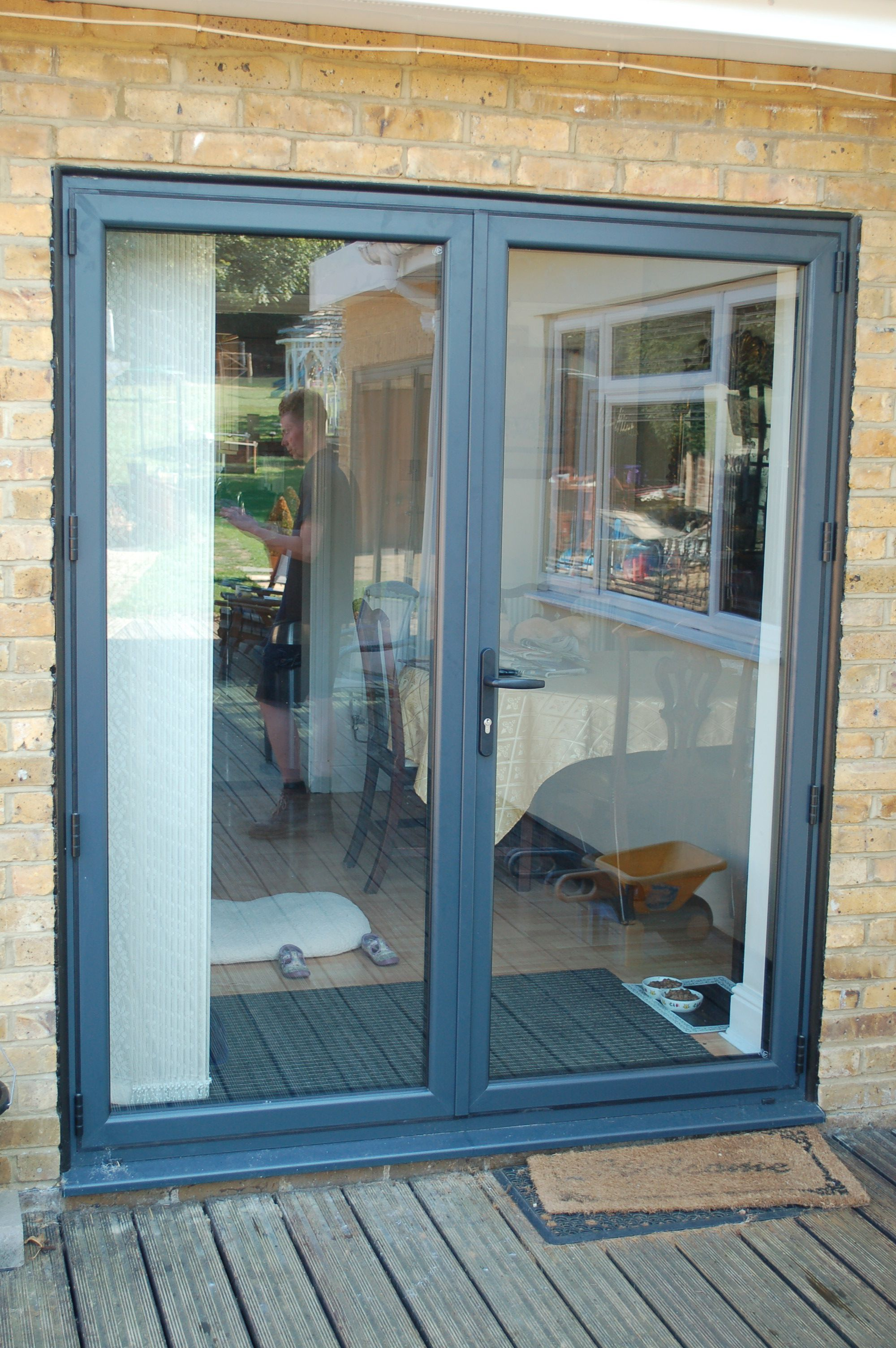Smart Aluminium graphite grey french doors | KSE Home Improvements ...