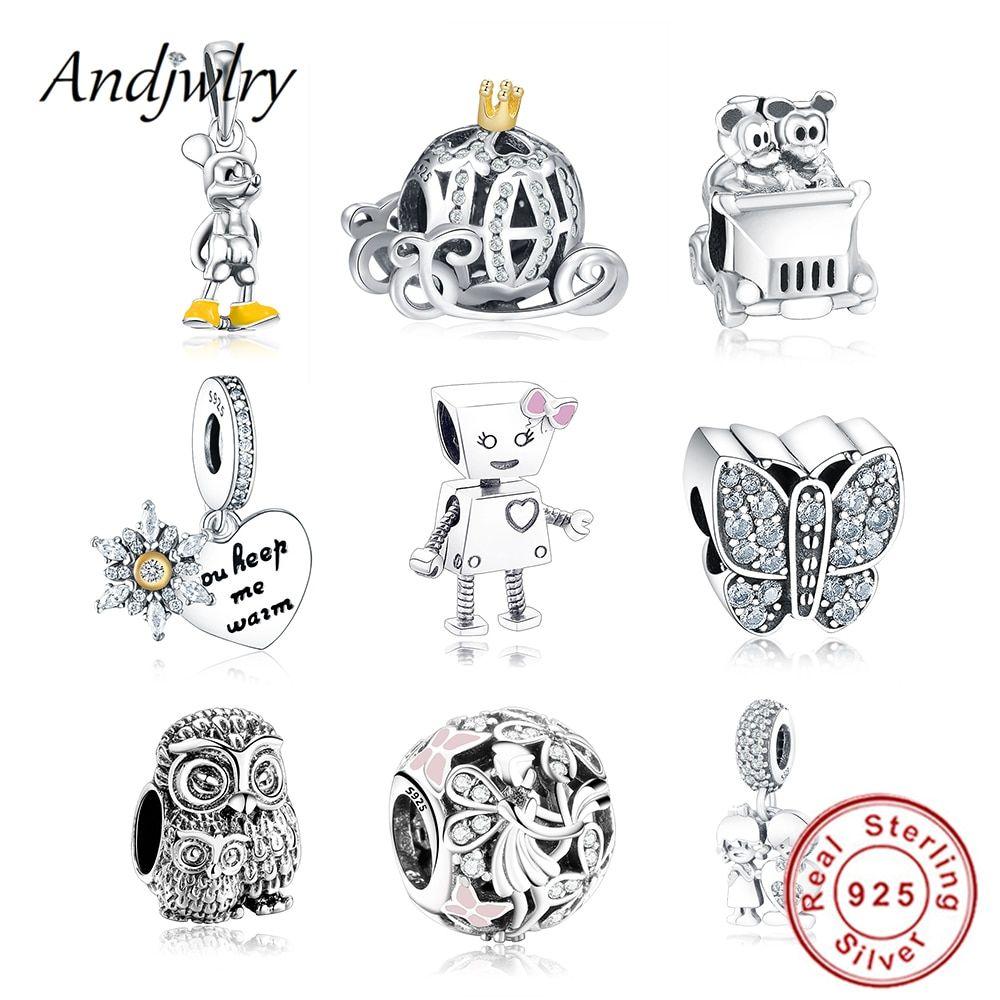 356df4281 925 Sterling Silver Robot Girl Bella Bot Charm Fits Original Pandora Charms  Bracelet Bead Pendant DIY