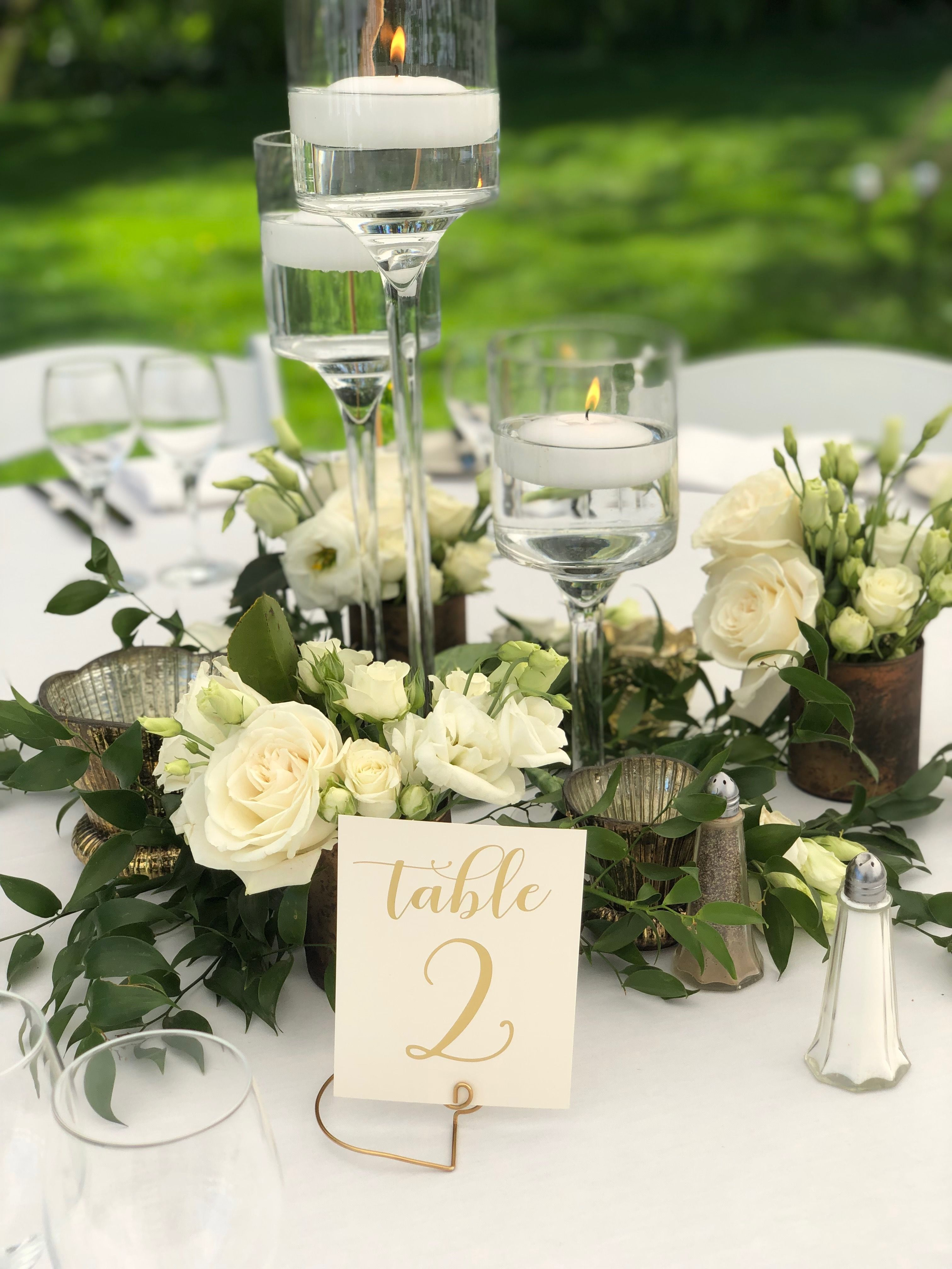 White And Green Flowers Wedding Floating Candle Centerpiec