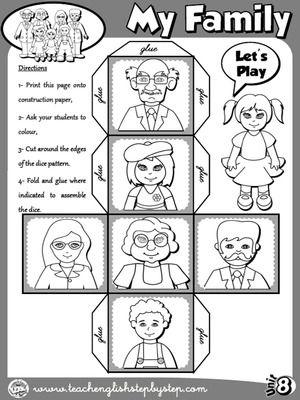 My Family Dice B W Version Con Imagenes Ingles Para