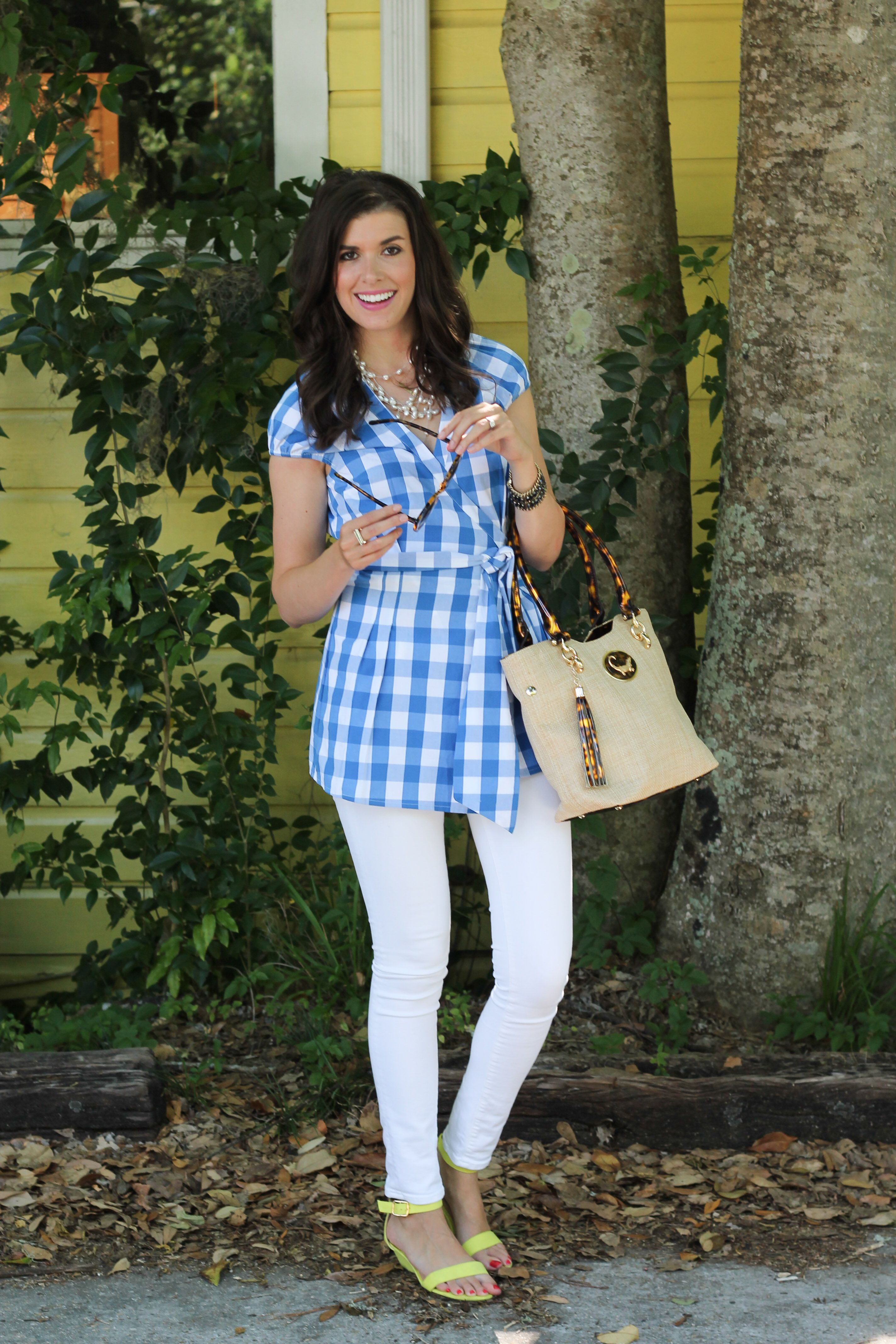A Gingham Wrap Blouse Fashion, Blouse styles, New