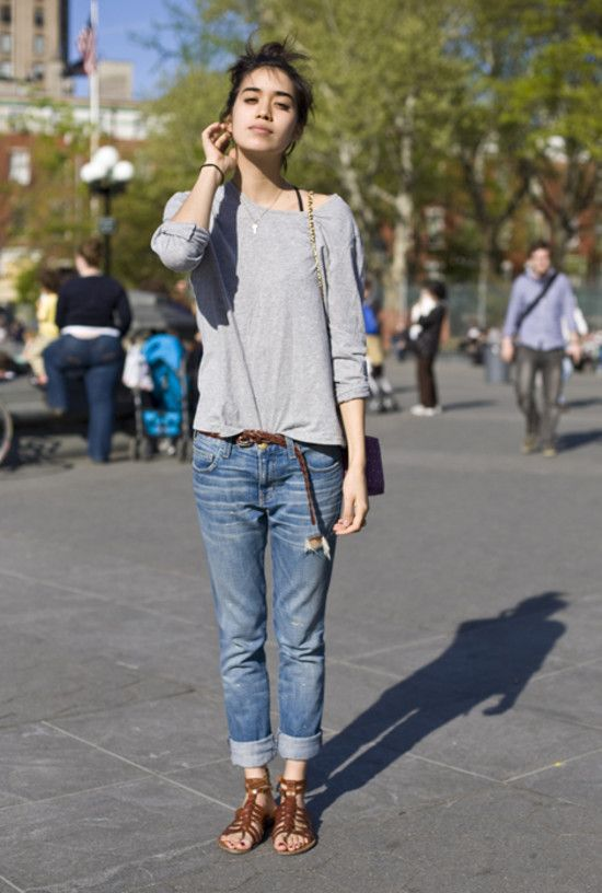 81d9ed1414eb Paired with flat sandals. Grey Sweatshirt