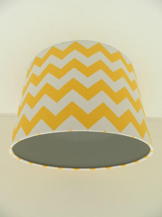 Yellow Chevron Fabric & Grey Vinyl Lampshade by MakeHayDesign ...
