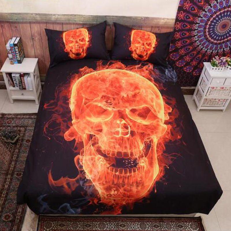 3D Skull Ghost Rider Duvet Cover Quilt Cover Pillow Cases