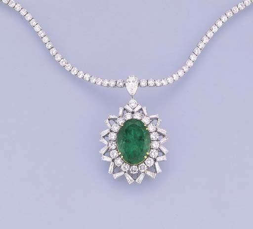 AN EMERALD AND DIAMOND PENDANT NECKLACE   The diamond collet necklace suspending an oval-cut emerald within brillant and tapered baguette-cut diamond openwork surround, 43.0 cm. long