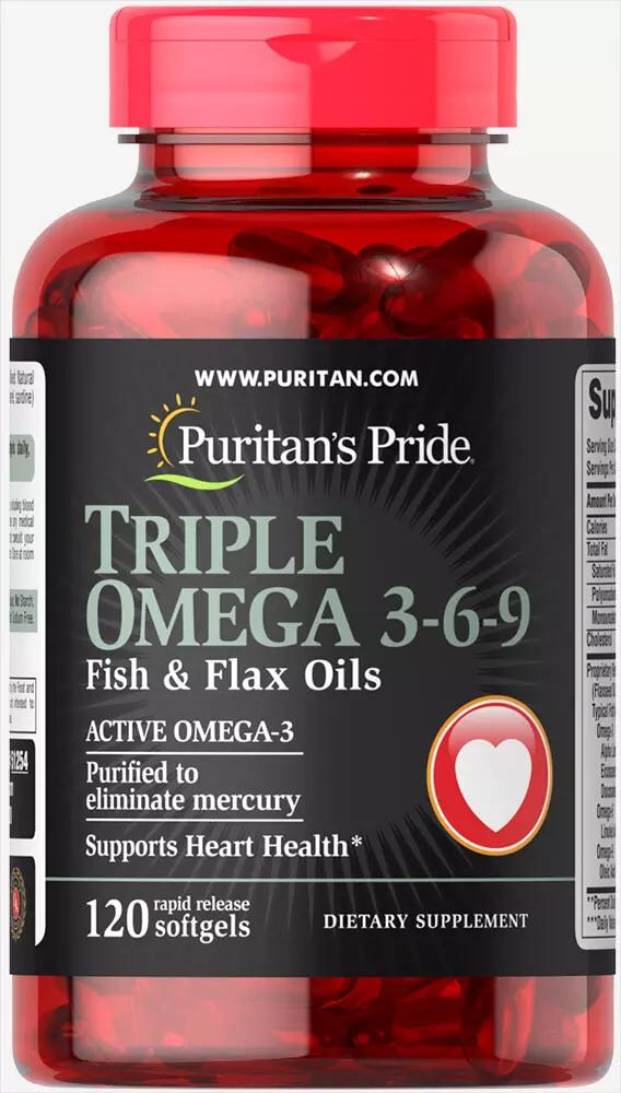 Triple Omega 3 6 9 Fish Flax Oils 120 Softgels Puritan S Pride Omega 3 Omega Flax