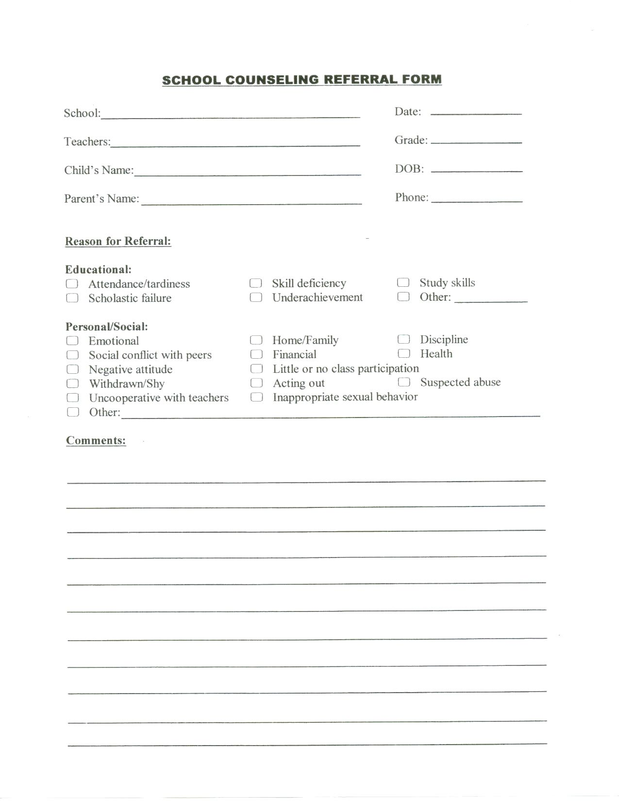 School Counselor Log School Counseling Referral Form School