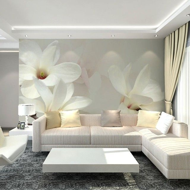 pas cher gros blanc mangnolia fleur 3d peintures murales papier peint en vinyle pour le salon tv. Black Bedroom Furniture Sets. Home Design Ideas