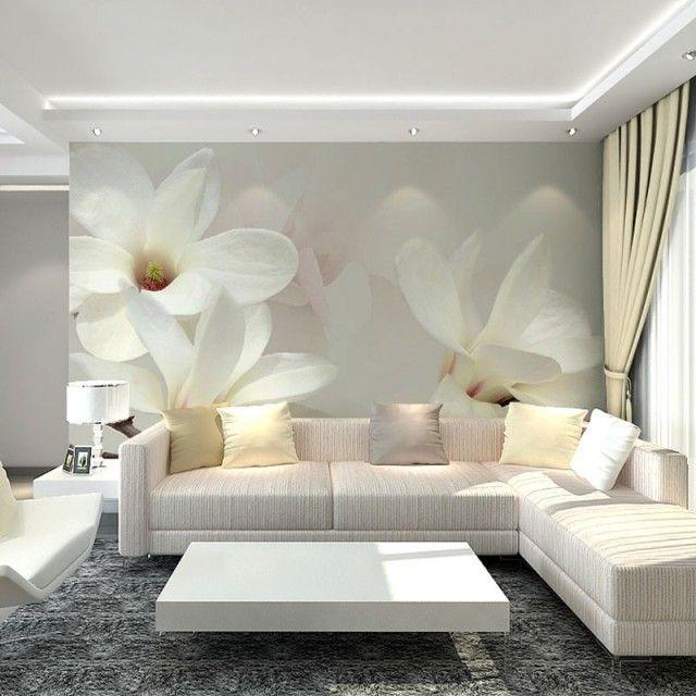 Pas cher Gros blanc Mangnolia fleur 3d peintures murales papier