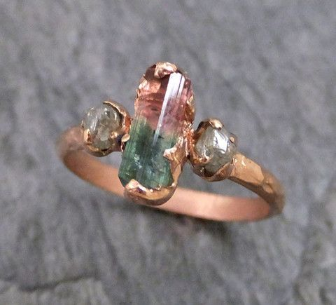 Popular Raw Bi Color Pink Green Tourmaline Diamond k Rose Gold Engagement Ring Wedding Ring One Of
