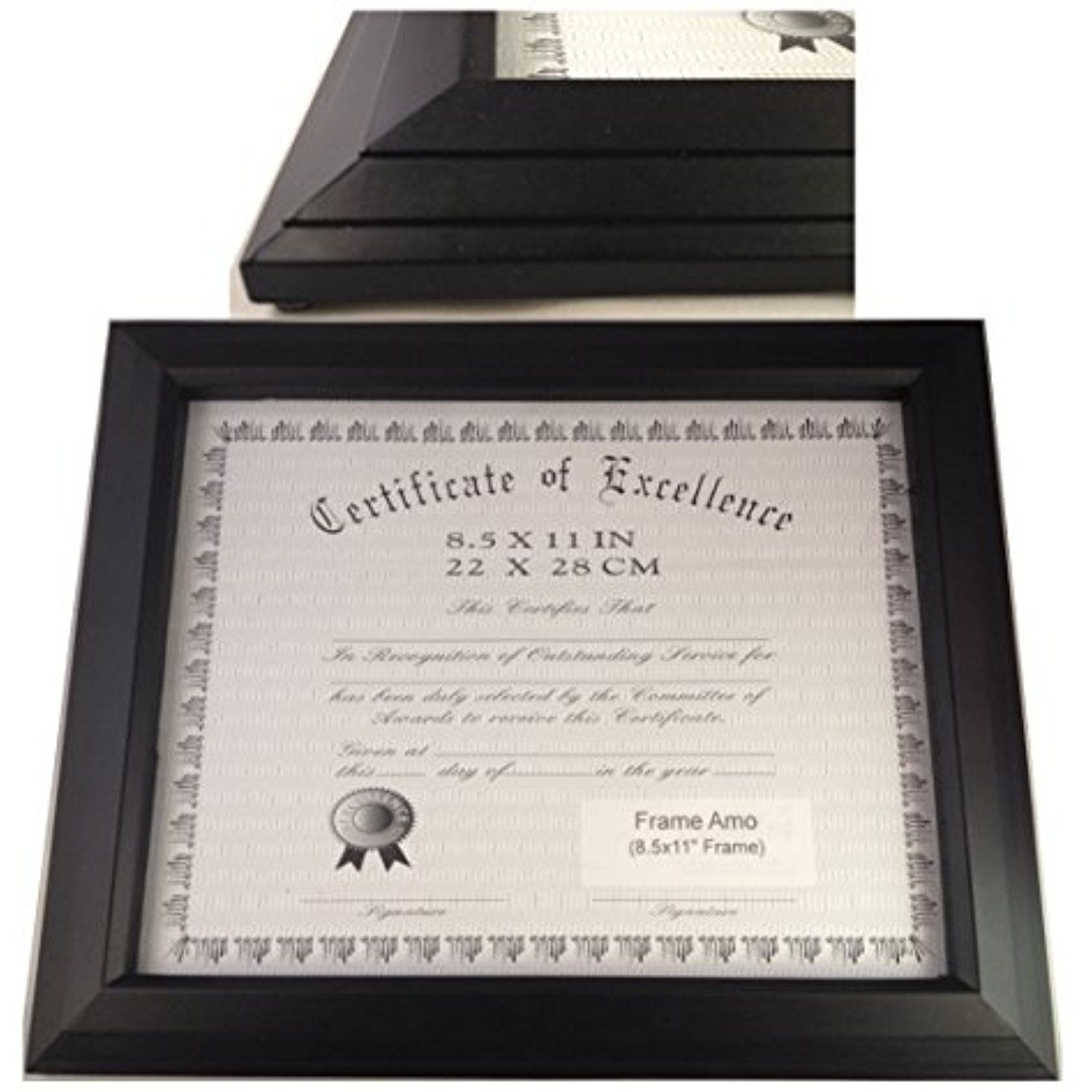 Frame Amo Black 8.5x11 Certificate Document Frame, 1.1\